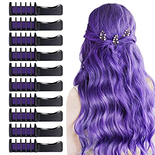 10 PCS Hair Chalk Comb, TOROKOM Temporary Hair Color Comb Washable Mini Hair Chalk for Girls Age 4 5 6 7 8 Kids Non Toxic Hair Color Dye for Cosplay Halloween Christmas DIY Hair Color(Purple)