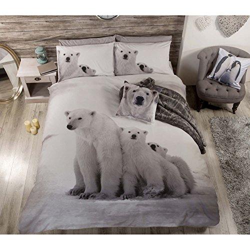 POLAR BEAR Cute Animales Colcha Juego de Funda de edredón y Funda de Almohada Juego de Ropa de Cama, Color Blanco, Double, Doble