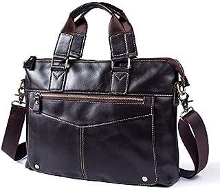 FYXKGLan Men's Oiled Leather Geniune Leather One Shoulder Bag Men's Briefcase (Color : Coffee)