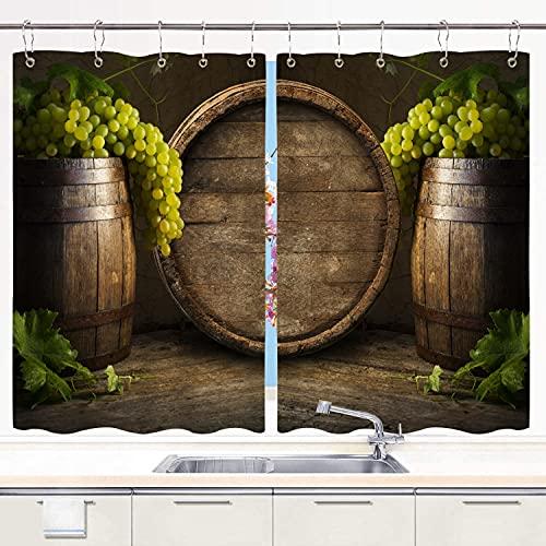 Cortina de Cocina YMWEI,Vino Blanco con barrica., Juego de Paneles de Tratamiento de Ventanas Cortinas Ganchos de Metal incluidos Juego de 2 Paneles de 55x39 Pulgadas