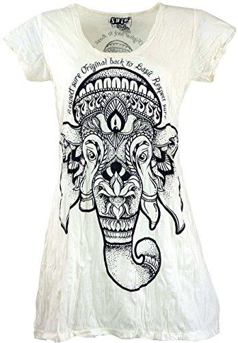 Guru-Shop Sure Long Shirt, Minikleid Ganesha, Damen, Weiß, Baumwolle, Size:L (40), Bedrucktes Shirt Alternative Bekleidung