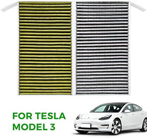 TAPTES Tesla Model 3 Filter Auto Innenraumluftfilter [2020 Version] mit PM2.5 Aktivkohle Biofunktionaler Pollenfilter Air Filter für Tesla Model 3-2 Stück