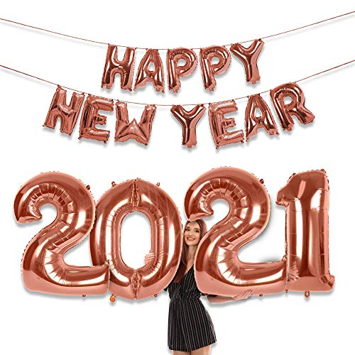 2021 Calendar or Lunar Happy New Years Party Supplies Rose Gold 16 Inch New Year Letter Balloon Banner 40 Inch 2021 Foil Number Balloons Big Sign NYE Decorations