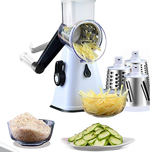 Manual Rotary Cheese Grater Round Mandoline Slicer with 3 Interchangeable Blades Vegetable Slicer Nuts Grinder Cheese Shredder with Free 3in1 set peeler White