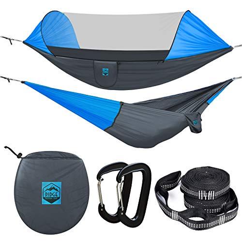 Ridge Outdoor Gear Camping Hammock with Mosquito Net - Ripstop Nylon - Ultralight Hammock Tent...
