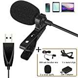 USB Lavalier Lapel Microphone, ZAFFIRO Clip-on USB Computer Microphone Plug & Play Omnidirectional Mic for PC, Laptop, Mac, PS4. Perfect for Video Recording,Skype, Streaming, Podcasting