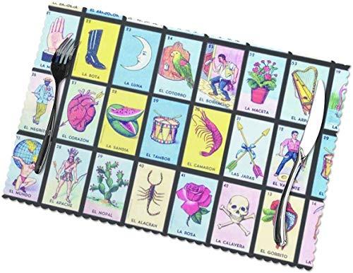 COOL-SHOW Juego de 6 manteles individuales para mesa de comedor, tarjetas de loteria, manteles individuales pintados a mano, lavables para mesa de cocina