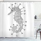 Animal cortina de ducha por Ambesonne, caballito de mar mediterráneo cultura romana Poseidon Artsy Heráldica cartel impresión, tela Set de decoración de baño con ganchos, 70cm), color gris y blanco