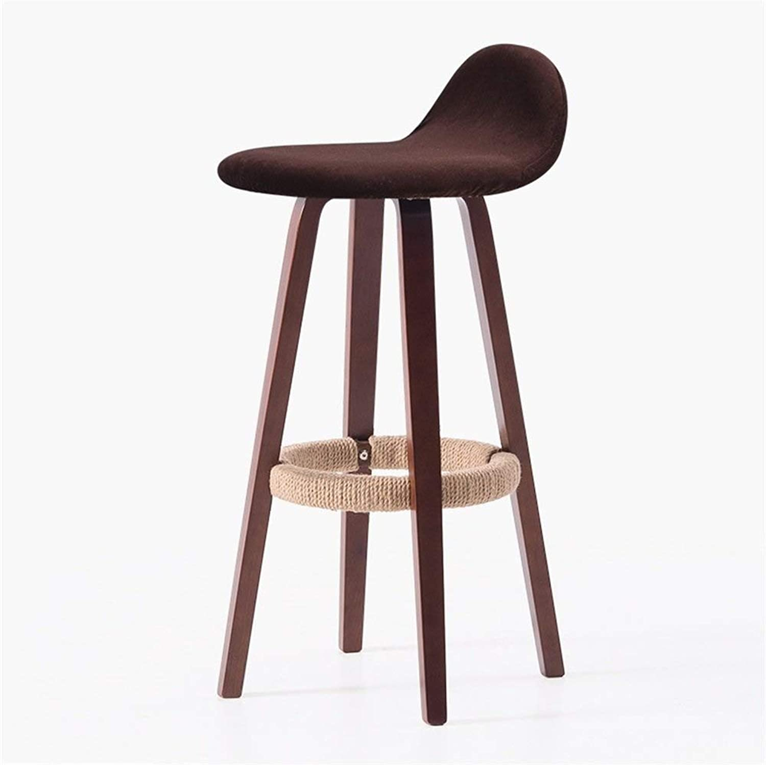 Solid Wood Wrought Iron Bar Stool, Bar Kitchen Height Counter Back Seat (Brown Wood Hemp Rope Art Red Wine color Style)