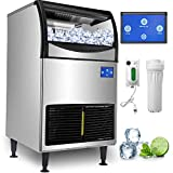 VEVOR 110V Commercial Ice Maker 298LBS/24H with 121 LBS Bin, Advanced Intelligent LCD Panel, Full Clear Cube, Air-Cooled, Include 2 Water Filters and Electric Drain Pump, 2 Scoops, Connection Hose