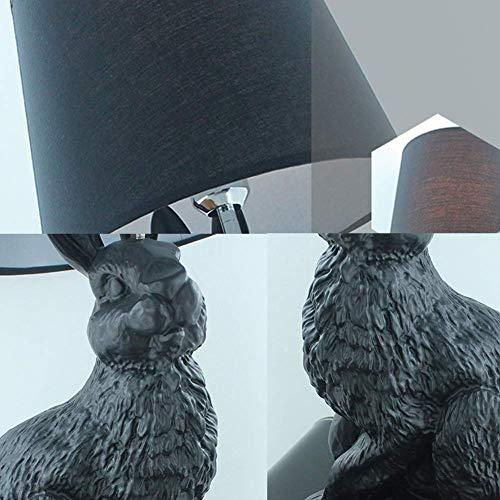 BoMiVa Lámpara de Mesa Lámpara de Mesa- Conejo Lámpara de Mesa de Resina Habitación Infantil (Color : Black)
