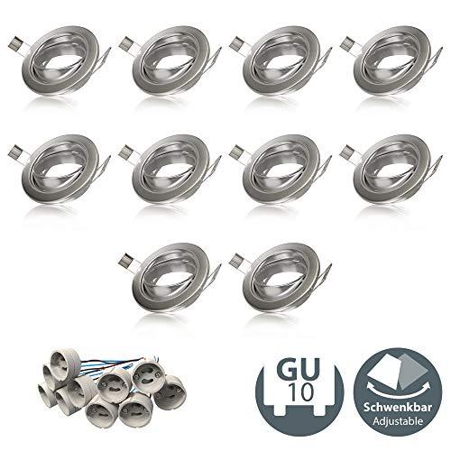 B.K.Licht Einbauleuchtenrahmen GU10 10er-Set Einbauleuchten Einbaurahmen Ring schwenkbar Rahmen Einbauspots Einbauleuchten