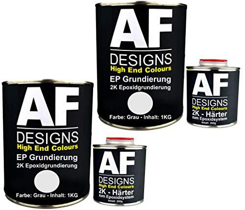 Alex Flittner Designs Epoxidfüller 2 x 1,20kg 2K Grundierung Füller EP Füller in grau für Autolack Rostschutz