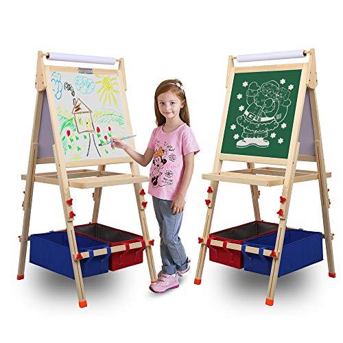 Kunst-Staffelei für Kinder aus Holz mit doppelseitiger Staffelei-Tafel und weißer Staffelei, höhenverstellbar