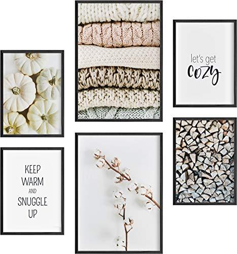 Mia Félice Deko Bilder für das Wohnzimmer modern und angesagt, Premium Poster Set » Cozy Fall « Tumblr Deko Wand Bild, Dekoration Wohnung modern, Deko Schlafzimmer, Zimmer Deko OHNE BILDERRAHMEN