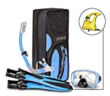 SealBuddy Fiji Panoramic Snorkel Set + Premium Travel Gear Bag ~ Vest Included (Aqua/Blue, S/M Size 4 to 7.5)