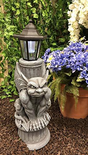 Ebros Faux Stone Gothic Crouching Winged Gargoyle Statue with Solar LED Lantern Light Post 20' Tall Decor Figurine