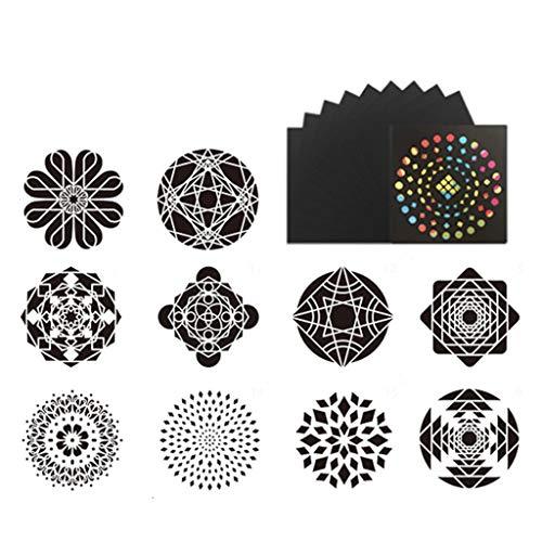 WOWOWO Plantillas de Pintura de Mandala DIY Dibujo Scrapbook Pintura de Plantilla de Pared para Madera F