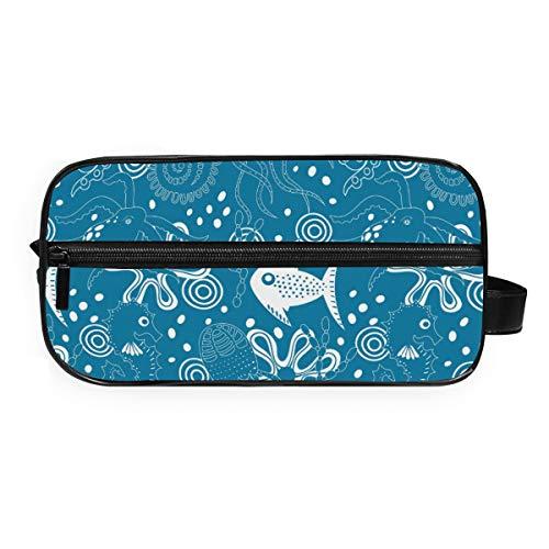 MontoJ Trousse de toilette Sac de rangement pour cosmétiques Bleu Collection Sea World Maquillage Sac de lavage Gargle Sac pour Voyage et Maison