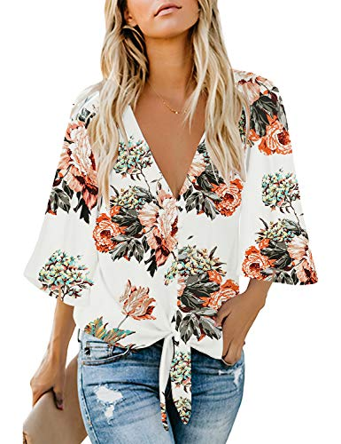 luvamia Women's V Neck Tops Ruffle 3/4 Sleeve Tie Knot Blouses Button Down Shirts, Floral Print Apricot Button Down Size L