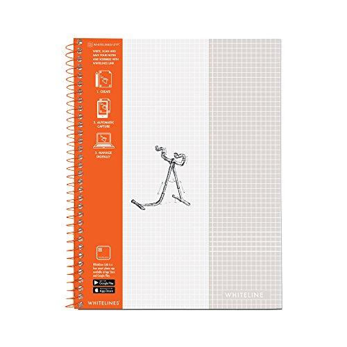 Whitelines Notizbuch, Drahtkammbindung, Graph, 70 Bögen, volle Größe grau