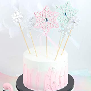Billion times 12 Pack Snowflake Cupcake Toppers Glitter Snowflake Cake Topper Picks with diamond and bow for Christmas Birthday Party Baby Shower Wedding Cake Decoration (Pink and Blue)