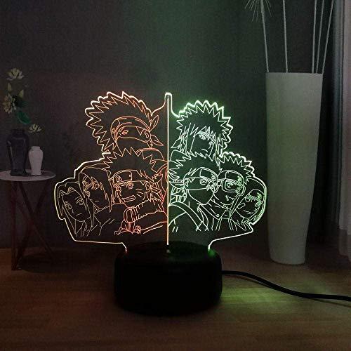 Mezclado de dos colores 3D ilusión noche luz Naruto LED noche luz 7-color cambiante de control remoto lámpara de escritorio USB hogar dormitorio lámpara de noche juguete niños regalo de cumpleaños