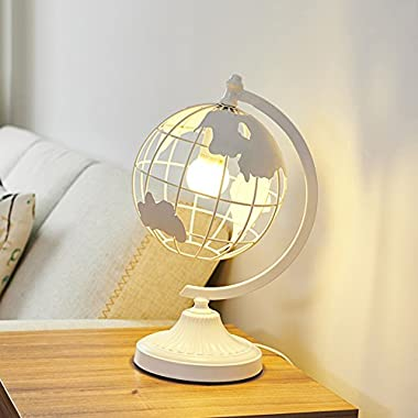 Globe table lamps,iron Bedside desk lamp Table lamps for bedroom Decoration art Bedside light Simple Creative Living room study Bedside nightstand lamp-White