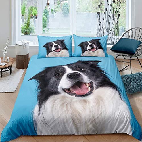 3D-H&e-Bettwäsche-Set mit süßem Border Collie, bedruckter Bettbezug, Welpen-Schmusetuch für Kinder, Jungen, Mädchen, Tiermotiv, Tagesdecke, Schlafzimmer-Kollektion, 2-teilig, Einzelgröße