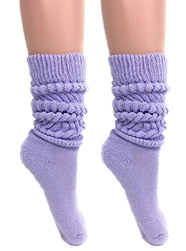 Slouch Socks Women and Men Extra Tall Heavy Cotton Socks Size 9 to 11 (Lilac, 2)
