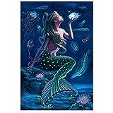 artaslf Diamante completo bordado sirena princesa Diy cristal cuadrado completo dibujos animados diamante pintura sirena diamante mosaico pinturas-40x50cm sin marco