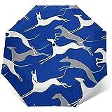 Saltando Galgos Paraguas de Viaje Azul Paraguas Solar-Ligero Paraguas Protector Solar a Prueba de Viento-Botón automático de Abrir y Cerrar