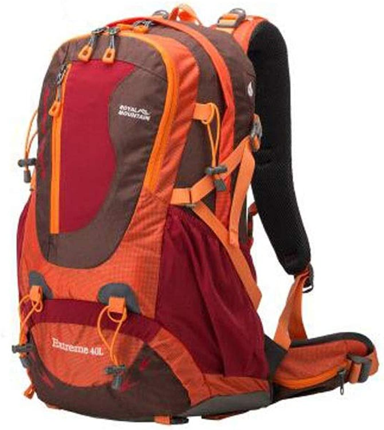 HENG Outdoor 40L Mountaineering Bag, Casual Nylon Fabric Water Repellent Travel & Hiking Backpack for Hiking, Traveling & Camping (color   orange)