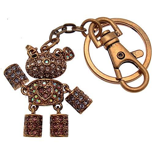Acosta - Lilac Purple Swarovski Crystal - Robot Teddy Bear with Heart Bag Charm / Keyring - Gift Boxed