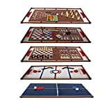 PLAY4FUN Plateaux Multi-Jeux, 14 Jeux différents; Ping Pong, Air Hockey, Bowling, Echec, Mikado, Back Gammon… 97 x 49 x 3 cm
