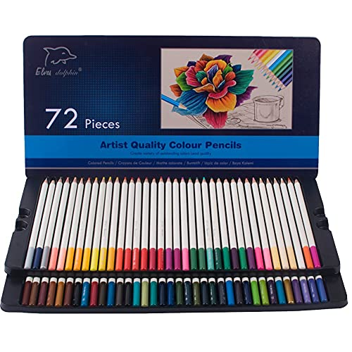 ADDG Pinceles para niños en Caja de hojalata, 72 lápices de Colores, con Caja de hojalata, Libro para Colorear de Escuela de Arte para niños y Adultos, lápices de Colores Suaves