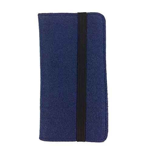 handy-point Universell Organizer für Smartphone Tasche aus Filz Filztasche Filzhülle Hülle Schutzhülle mit Kartenfach für Samsung, iPhone, Huawei (5,3-5,5 Zoll max 16,5 x 8,3cm, Blau dunkel)