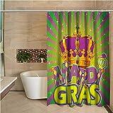 N\A Lange Duschvorhang-Karneval-antike Krone auf Weinlese-Radialhintergr&-Beschriftung mit Karomuster Lila Goldgrün