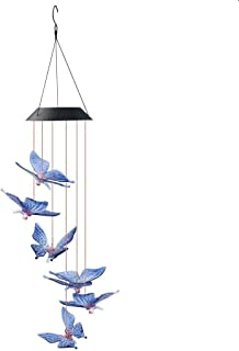 SUMERSHA Butterfly Wind Chime, Color Changing LED Solar Mobile Butterfly Wind Chimes Hanging Outdoor Solar Lights for Home...