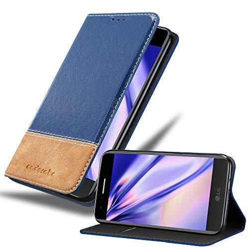 Cadorabo Hülle für LG K8 2017 - Hülle in DUNKEL BLAU BRAUN – Handyhülle mit Standfunktion und Kartenfach aus Einer Kunstlederkombi - Case Cover Schutzhülle Etui Tasche Book