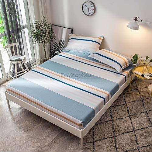 Hllhpc Mooie Blauwe Boomblad Plant Bedlaken 100% Katoen Hoeslaken met Elastische Band