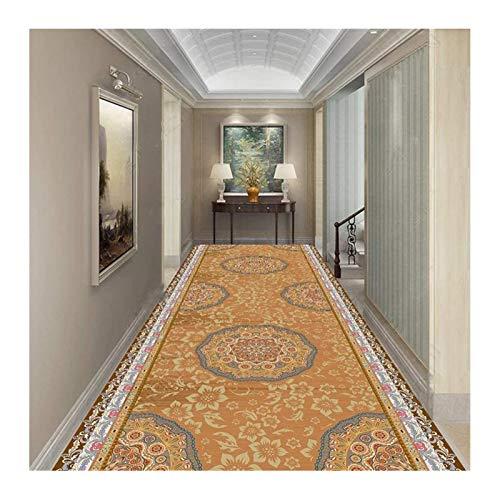 Siunwdiy Alfombra de Pasillo, Color Naranja Estilo étnico Impreso Pasillo Floral pequeño Escaleras de Escalera de Cocina Antideslizante Larga y Suave Sala de reuniones del Hotel,100x200cm