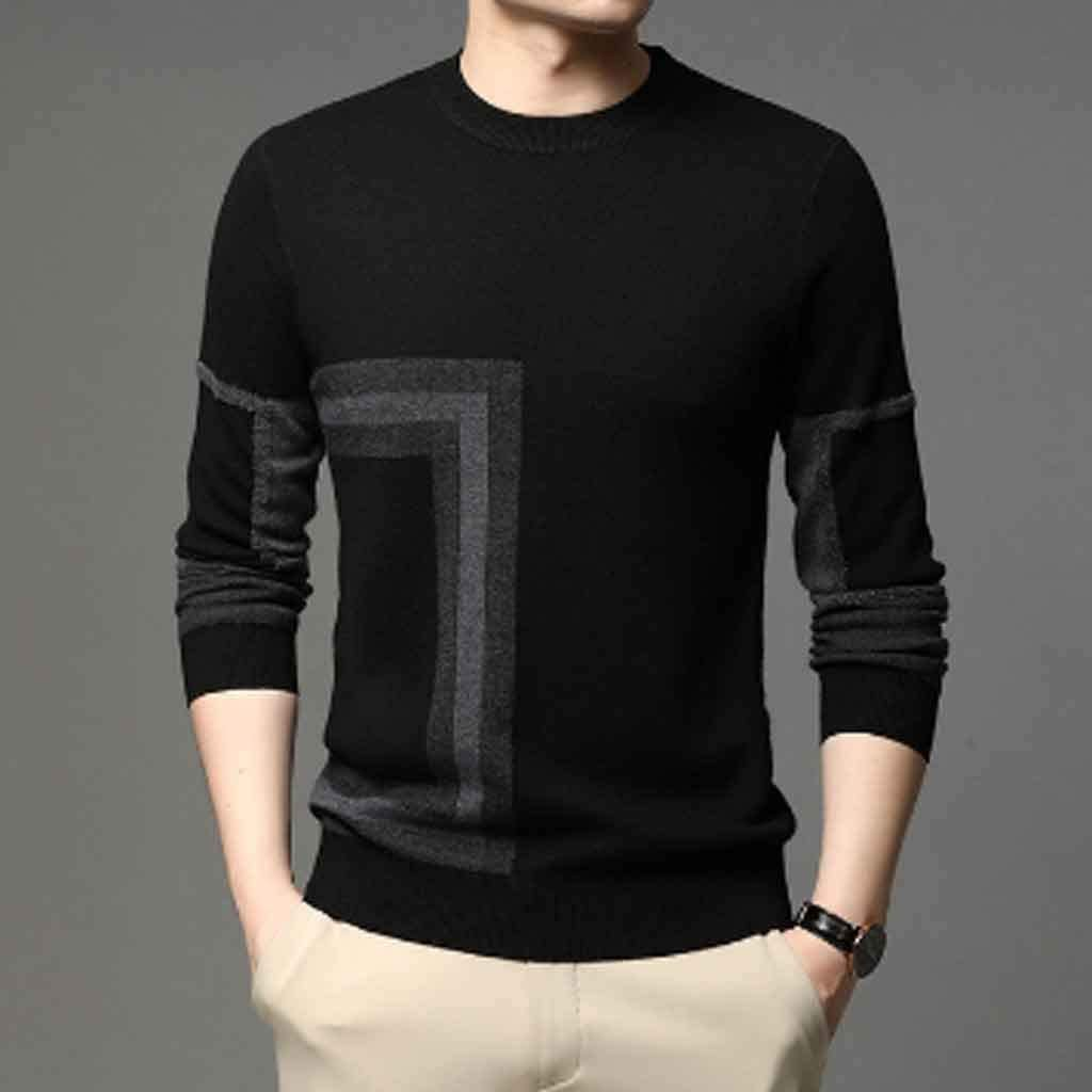 ZYING High End Designer Brand Mens Knit Black Wool Pullover Sweater Crew Neck Autum Winter Casual Jumper Mens Clothes (Color : B, Size : M Code)