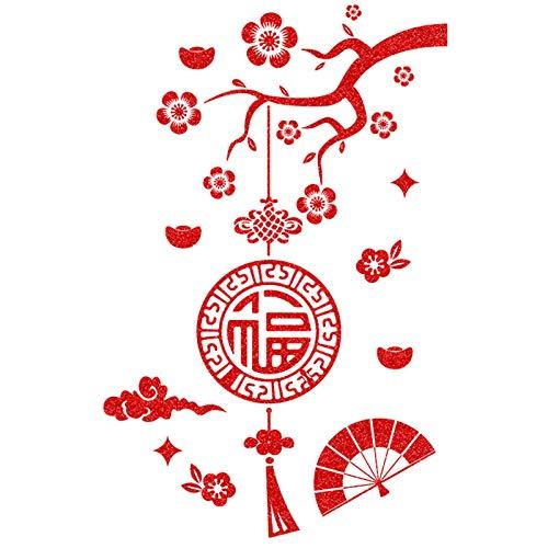 Vinilo decorativo para pared de cristal con diseño de nudo chino