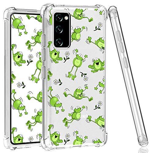CAROKI Schutzhülle für Samsung Galaxy S20 FE 5G, durchsichtige Schutzhülle mit grünem Frosch-Design, weich, stoßfest, stoßfest