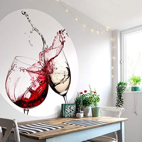 Fototapete Vliestapete Rund Weingläser Fotografie Rotwein Weißwein Getränk anstoßen Weinspritzer Küche Esszimmer inkl. Schablone Ø140 cm