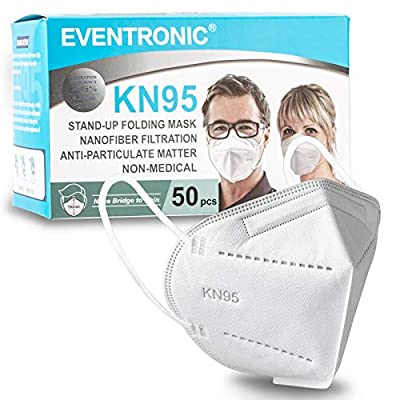 KN95 Face Masks, Eventronic 50 Pack KN95 Masks, Breathable and Soft, for Home & Office by Eventronic