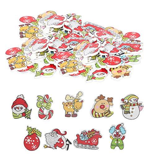 200 botones de madera de la serie navideña, mezcla de colores navideños,...