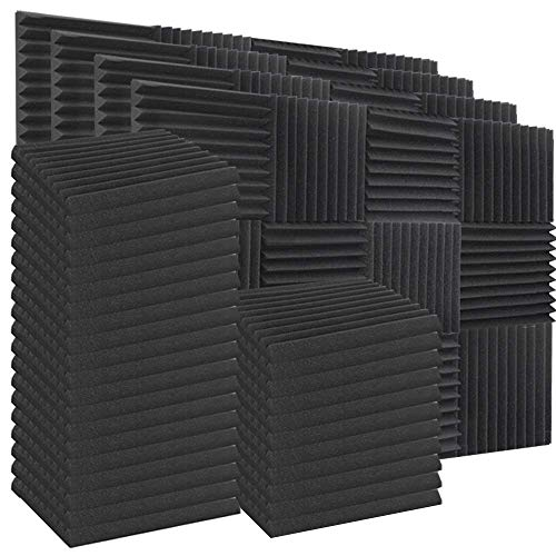 "ZHERMAO 100 Pack Acoustic Foam Panels Sound Proof Padding for Wall Soundproofing Foam, 12""X 12""X 1"" Studio Foam Wedges Sound Absorbing Panels Sound Insulation Panels for Home Studio Ceiling"