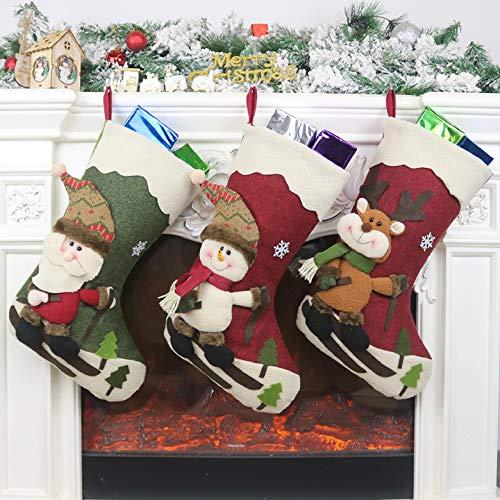 Yuson Girl Calza di Natale Set Deluxe Calza Natalizia 46cm Calze Babbo Elk Natale Pupazzo Natalizie Personalizzate Candy Sacchetti Regalo per la Decorazione della Festa di Casa Natale